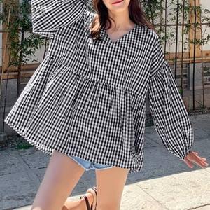 Korean Plaid Checked Blouse Women Spring Shirt ZANZEA Stylish V Neck Puff Sleeve Blusas Female Loose Tunic Top Oversized Chemise