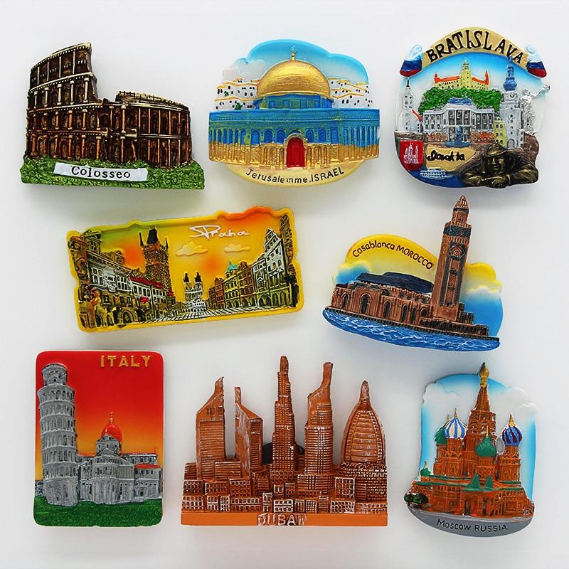3D kühlschrank magnet magnetische kühlschrank Rom Kolosseum Dubai Slowakei Israel Dubai Italien tourismus souvenir home dekoration aufkleber