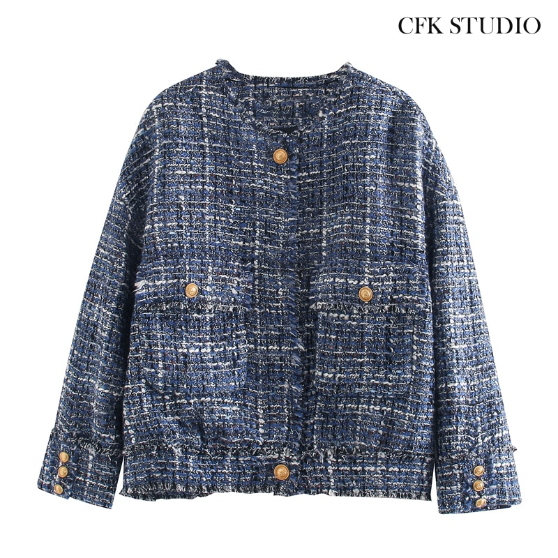 Za Women Tweed Coat 2020 New Fashion Button Pocket Oversize Jacket Femme Autumn Spring Blue Elegant Casual Outwear