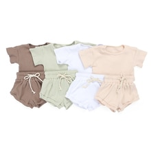 Kaiya Angel Hot Toddler Girls Boutique Outfits NB-8Y Baby Solid Ribbed Clothing Set Kids Summer Shor