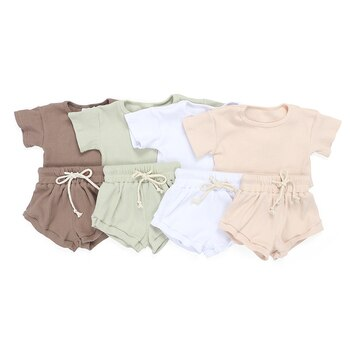 Kaiya Angel Hot Toddler Girls Boutique Outfits NB-8Y Baby Solid Ribbed Clothing Set Kids Summer Short Sleeve Shirt Bloomers Set