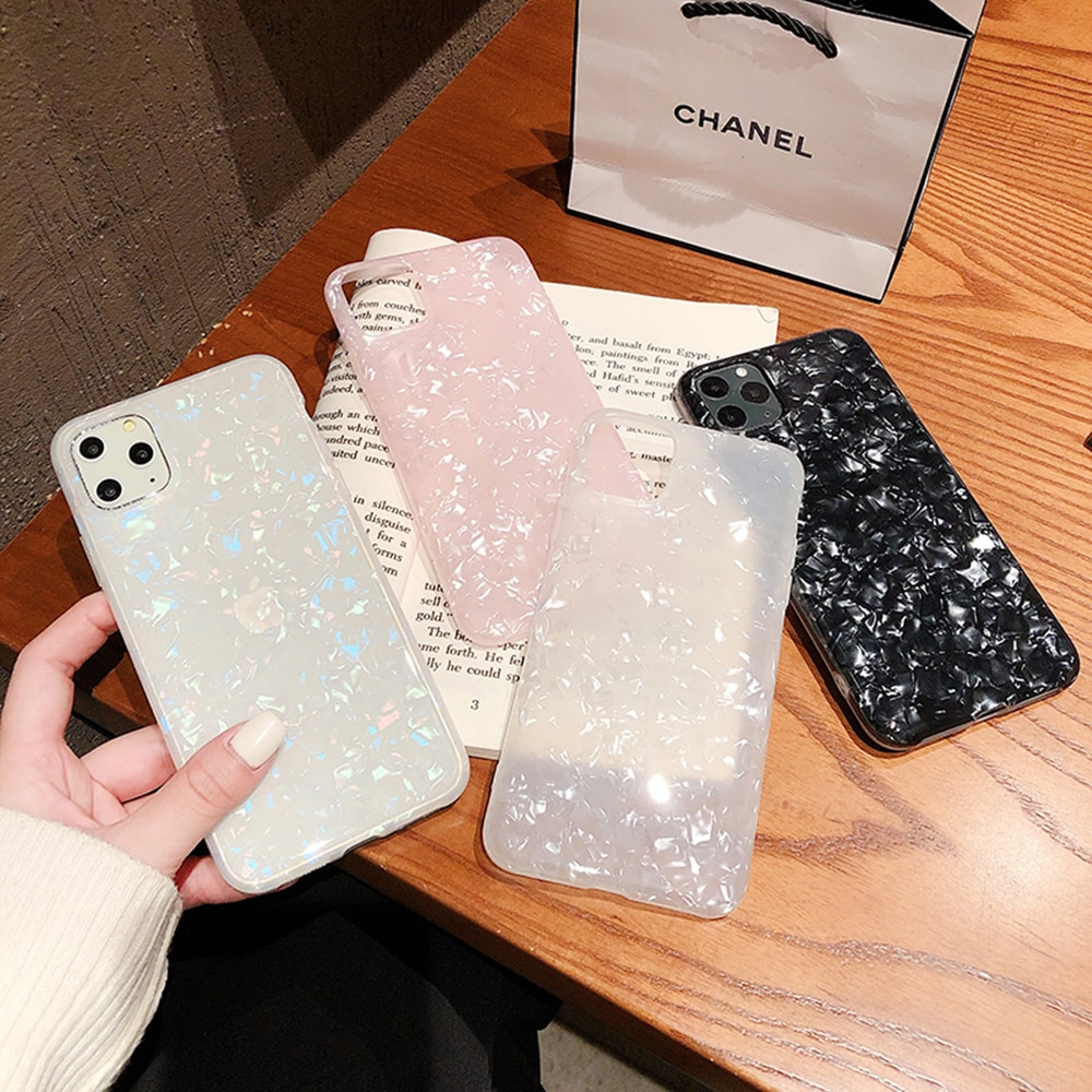AliExpress - Glossy Marble Case For iPhone 12 mini 11 Pro Max X XS XR 6s 7 8 Plus SE 2020 Bling Shell Epoxy Silicon Glitter Soft TPU Cover