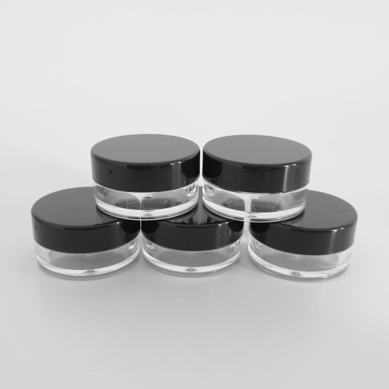 200pcs 5g 5ml Empty Cosmetic Sample Container Round Pot Small Tiny Bottle for Make Up Eye Shadow Nails Powder