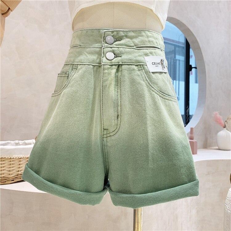 Популярные джинсовые шорты с завышенной талией, женские летние популярные брюки 2021, облегающие А-образные свободные брюки с широкими штани...