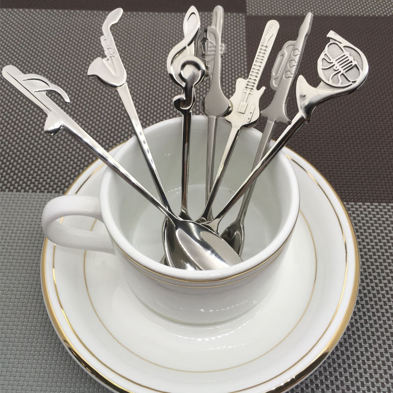 Creative Coffee Tea Spoon Music Symbol Long Handle Stainless Steel Spoons Drinking Tools Kitchen Gadget Flatware Tableware  - buy with discount