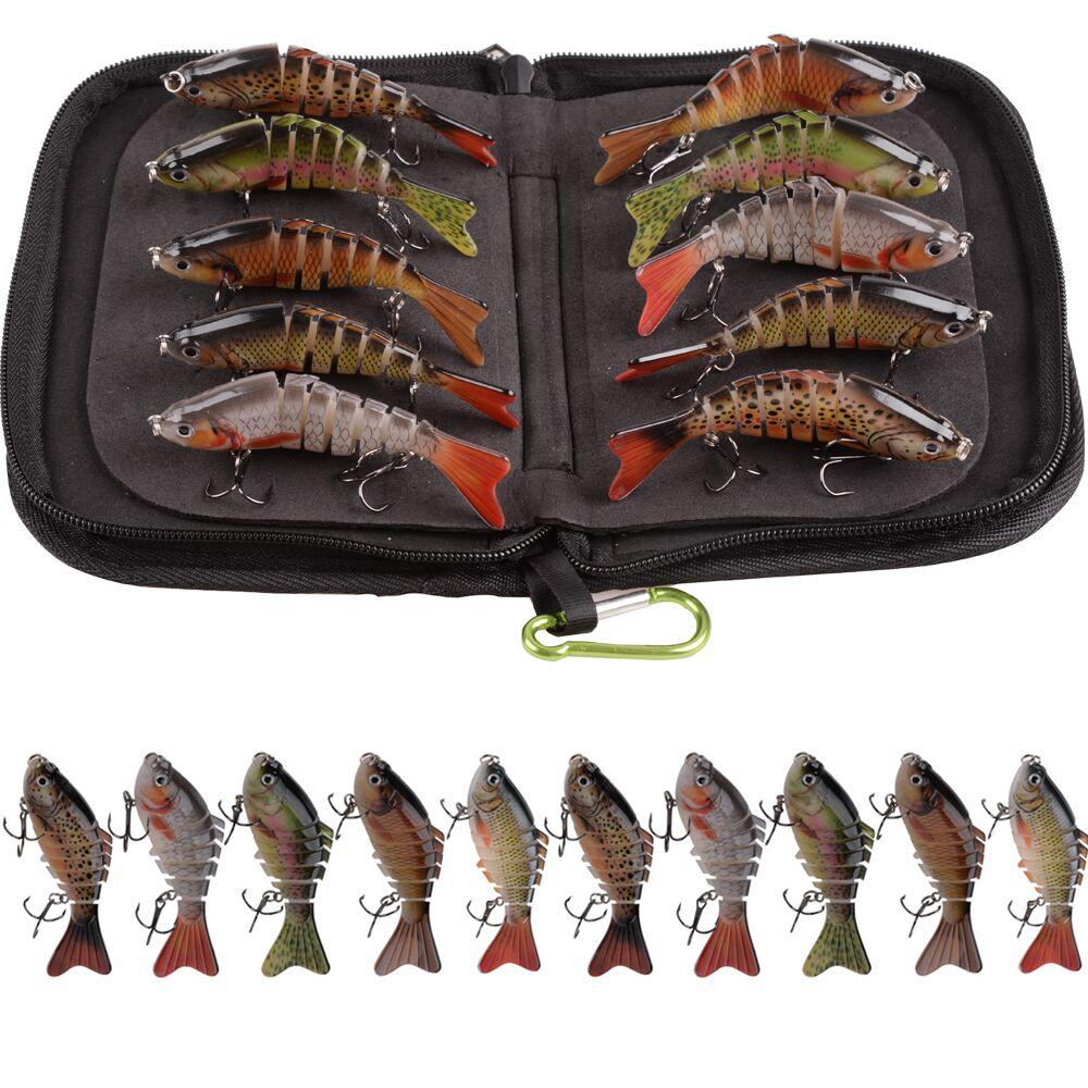 10 pçs/saco 10cm 15g wobblers iscas de pesca multi articulado swimbait isca artificial dura pique/baixo isca de pesca com saco portátil