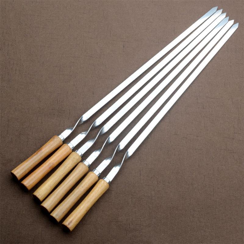6 قطعة أسياخ الشواء شقة 55 سنتيمتر الفولاذ المقاوم للصدأ مقبض خشبي شواء الإبر عصا تحميص أسياخ شواء الشوك للتخييم