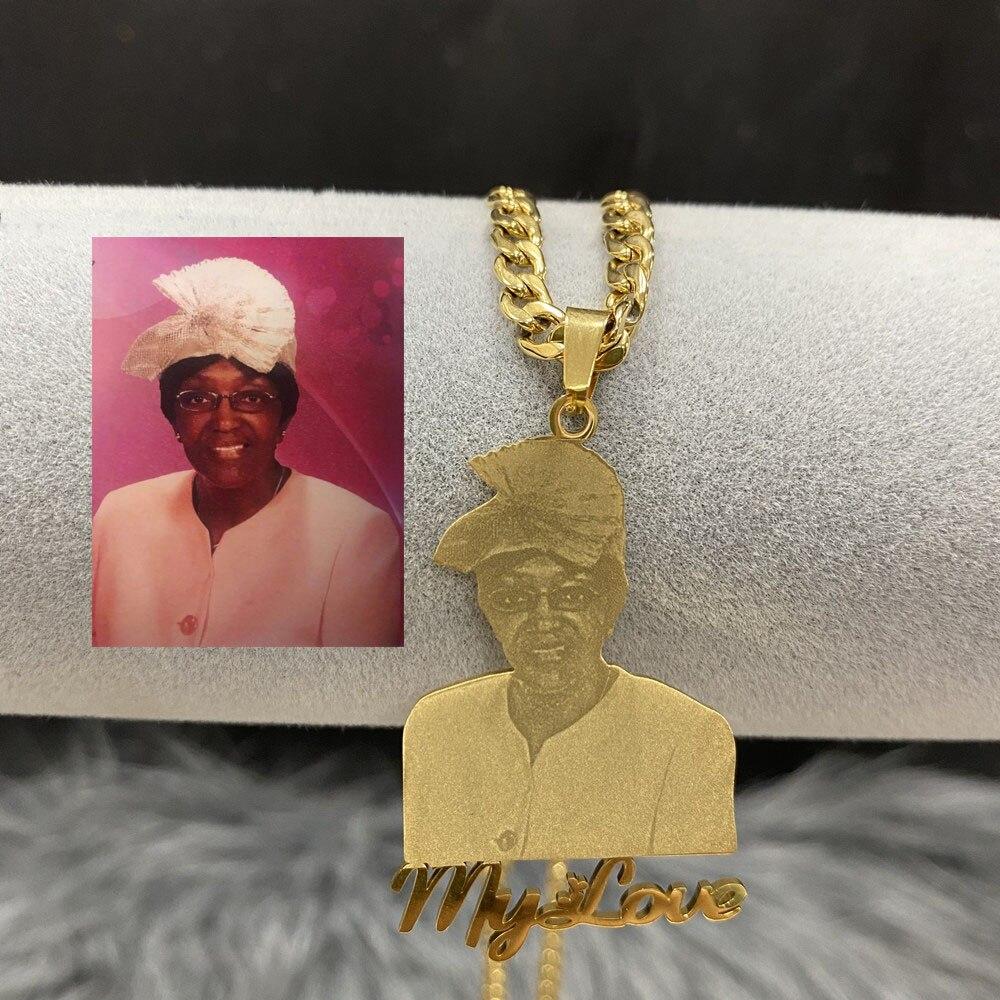 Ожерелье с фото на заказ, ожерелье с именем на заказ из нержавеющей стали, ожерелье с именем на заказ с изображением персонажа для женщин и м...