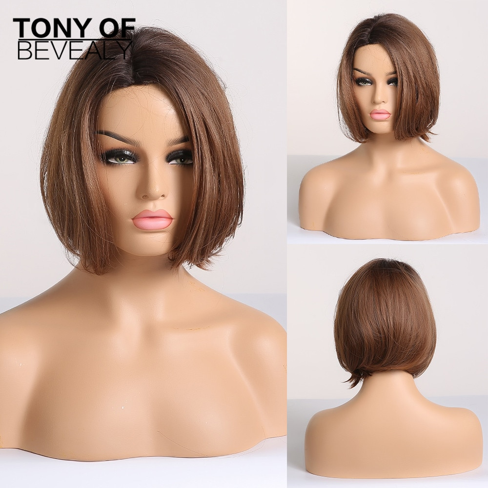 Short Straight Bob Wigs for Women Black to Brown Ombre Synthetic Hair Wigs Side Part Heat Resistant Fiber Glueless Wigs