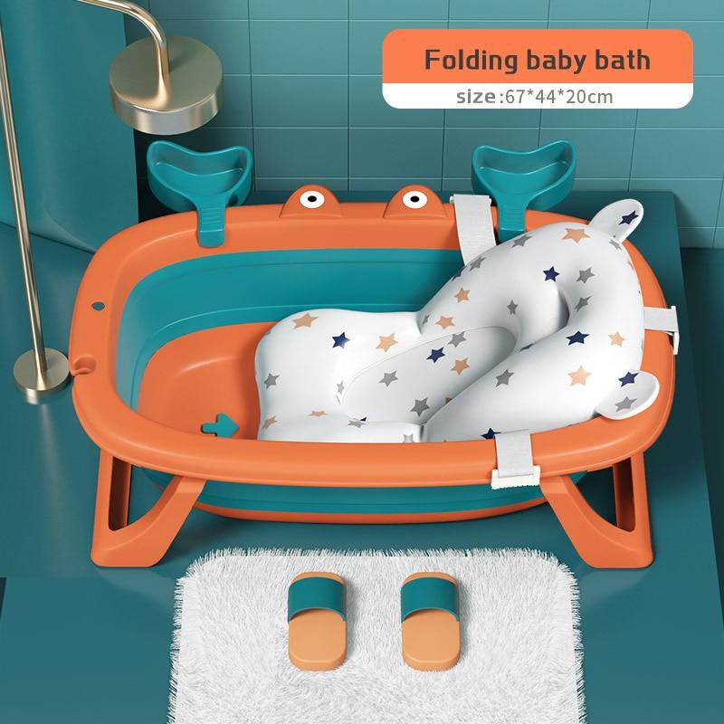 Baby Bathtub Foldable Newborn Child Bath Tub Can Sit and Lying Baby Bathing Artifact Net Pocket Universal