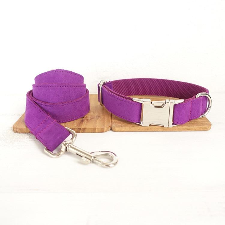 XS-XL púrpura sólido de poliéster Para mascotas Collar de Perro Correa Set...