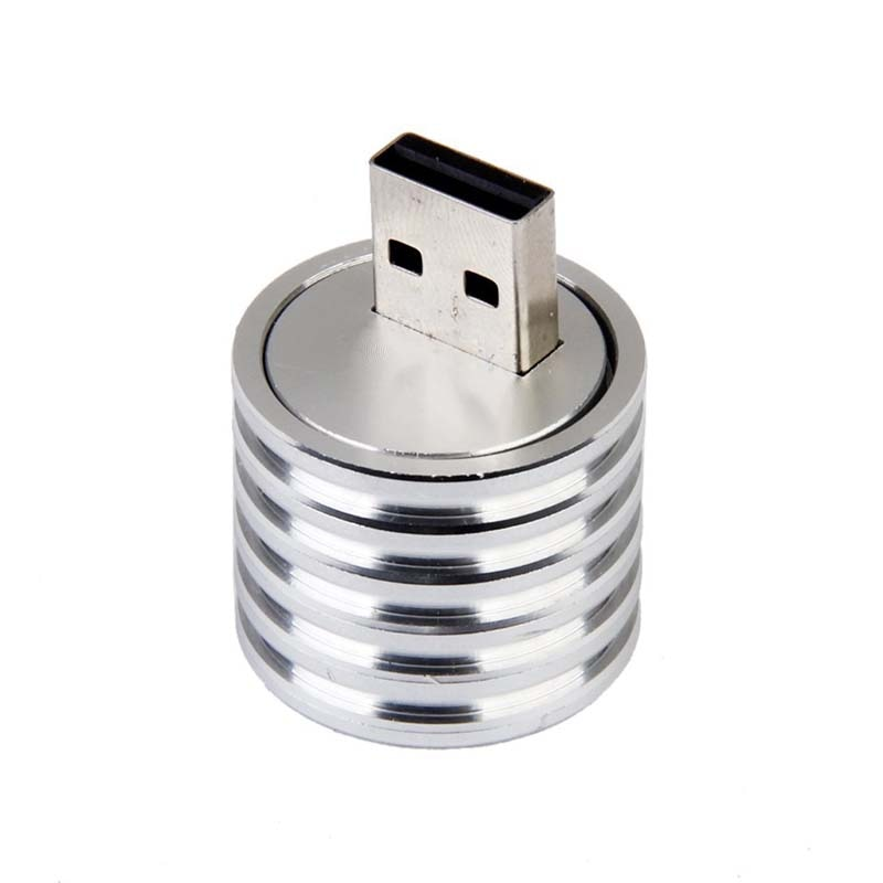 Lámpara LED USB de aluminio 3W, foco de toma, linterna, luz blanca