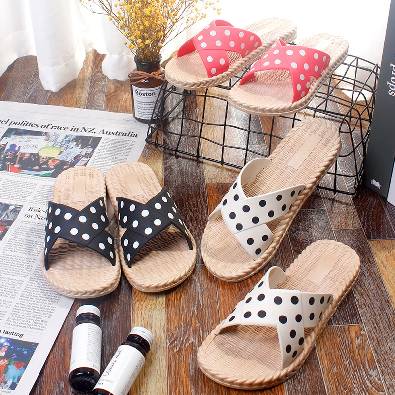 Women's Slippers Women's Wave Point Fashionable and Versatile Home Indoor Antiskid Slippers Outdoor Beach House Slippers