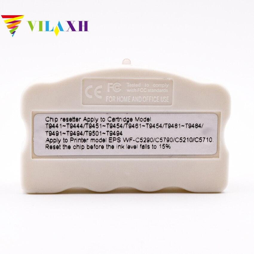 Vilaxh Cartouches Dorigine Puce Resetter T948 T9441 T9451 T9461 Pour EPSON WorkForce Pro WF-C5210DW WF-C5290DW WF-C5710DWF WF-C57