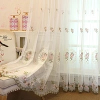 2021 simple modern country floral embroidery curtains for living room bedroom tulle curtaincustom