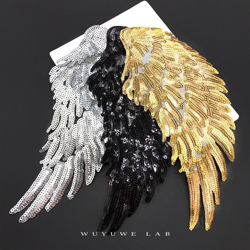 aliexpress.com - 1pairs Gold Silver Black Sequin Large Angel Wings Patch Badge Iron On Patches For Clothes Stickers Fabric Sewing Accessories