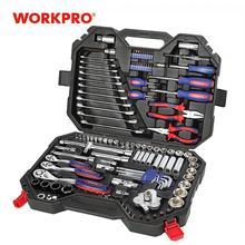 WORKPRO 123PC Mixed Tool Set Mechanics Tool Set Ratchet Spanner Wrench Socket Set 2019 New Design