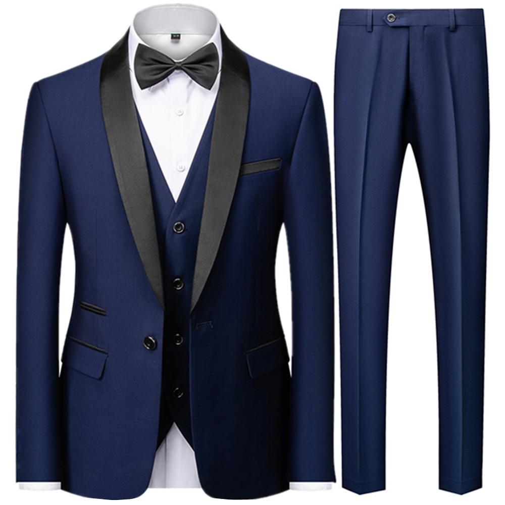 Men Mariage Color Block Collar Suits Jacket Trousers Waistcoat Male Business Casual Wedding Blazers Coat Vest Pants 3 Pieces Set