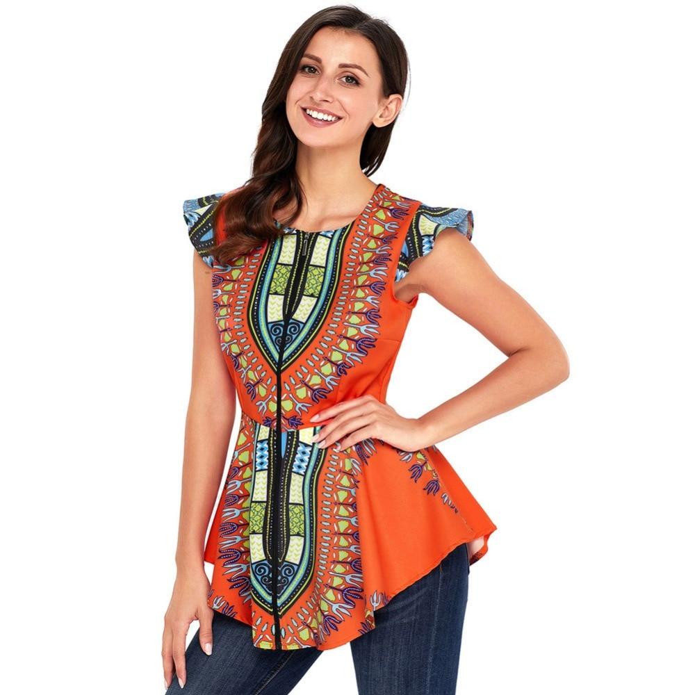 Alta baixa camisa africano dashiki impressão topo completo zip up blusa inclinação curvo hem para mulheres verão tanques topos de mangas curtas roupas