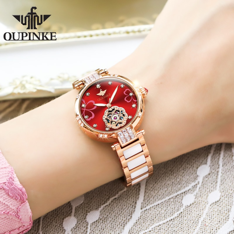 OUPINKE Top Luxury Brand Automatic Mechanical Women Watch Tungsten Steel Watchstrap Waterproof Gift Box Automatic Watches Women enlarge