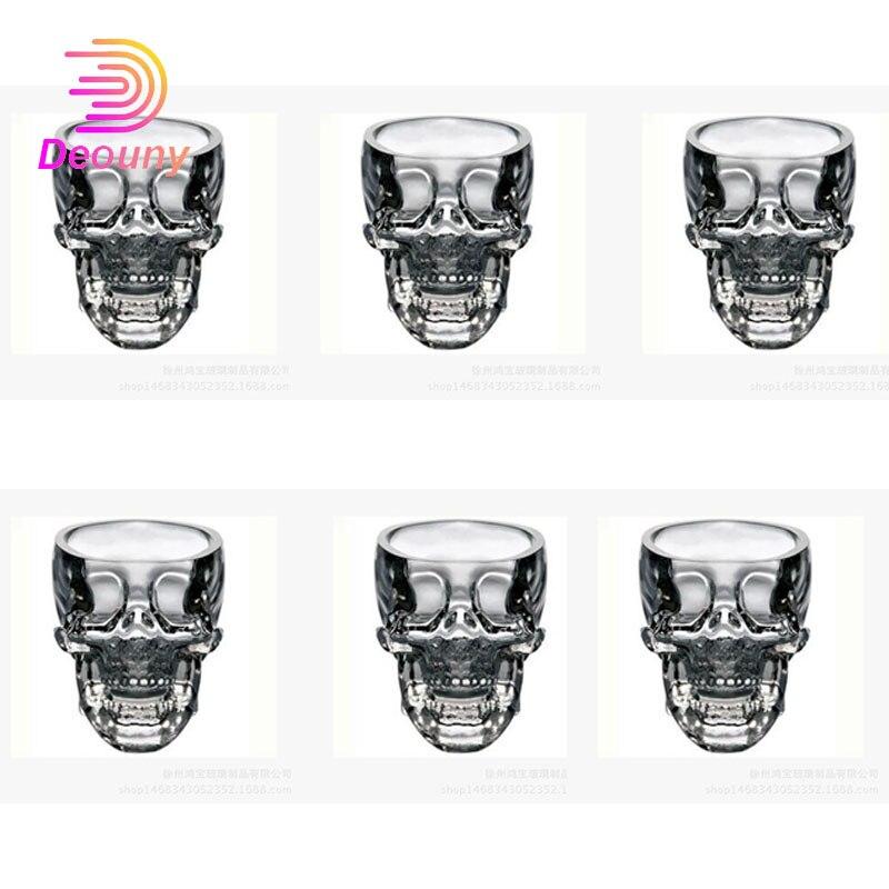 DEOUNY 6 pièces grand verres à liqueur pour Vodka Tequila coups ensemble Drinkware tasse 80ml & 150ml & 300ml cristal Halloween maison fête whisky