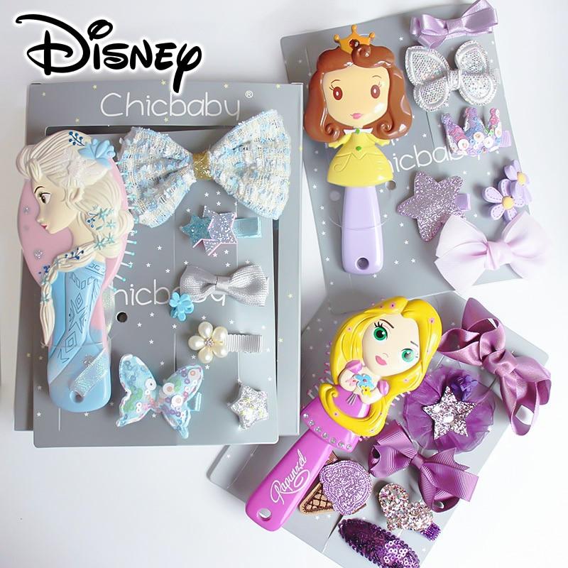 Frozen Girls Brinquedos Baby Girls Hairpins Hair Bow Clips Elsa Cartoon Disney Princess Hair Comb Jewelry Gift Box Set