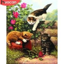 HUACAN zdjęcia według numerów kot zwierząt zestawy rysunek płótno ręcznie malowane ręcznie malowany obrazek kwiat kolorowanki ozdoby do dekoracji wnętrz