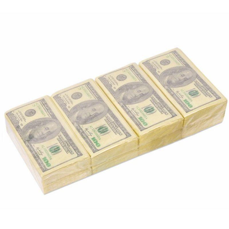 8 pacotes de papel guardanapo criativo 100 dólar de madeira crua polpa lenço facial festa aniversário casamento descartável utensílios de mesa