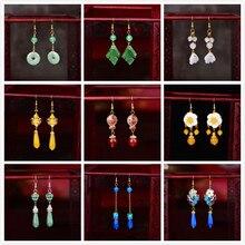 Style chinois Hanfu ethnique boucles doreilles mode tendance couleur glaçure paix boucle longue classique rétro Eardrop bijoux cadeau