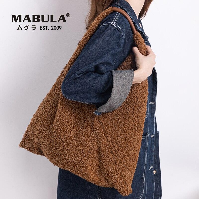 Fashion Winter Triangle Faux Fur Tote Bucket Handbag Sexy V Design Sling Shoulder Bag and Purse