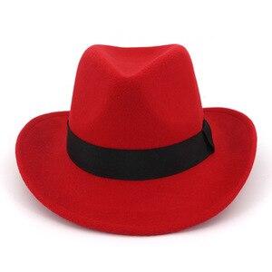 Metal Cow Head Western Cowboy Hat Autumn And Winter Woolen Jazz Hat Felt Hat Men And Women Top Hat Clothing Decor Accessory Gift