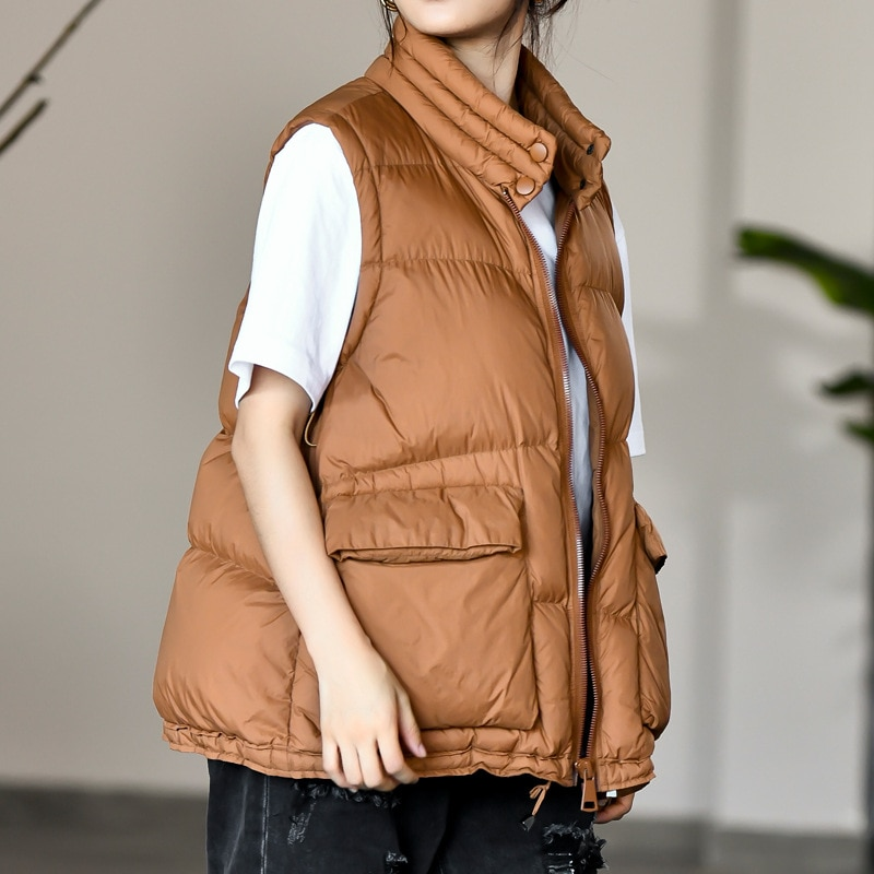 Winter New style Ladies stand-up collar lightweight Down Vest casual style Down Vest women's big pocket fashion solid color Vest winter new style ladies stand up collar lightweight down vest casual style down vest women s big pocket fashion solid color vest