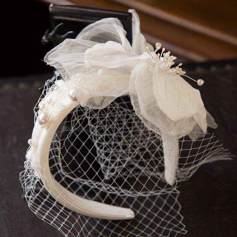 Branco malha flor de fadas hairband noiva casamento rosto véu pérola applique bandana luxo elegante senhoras rendas fascinator