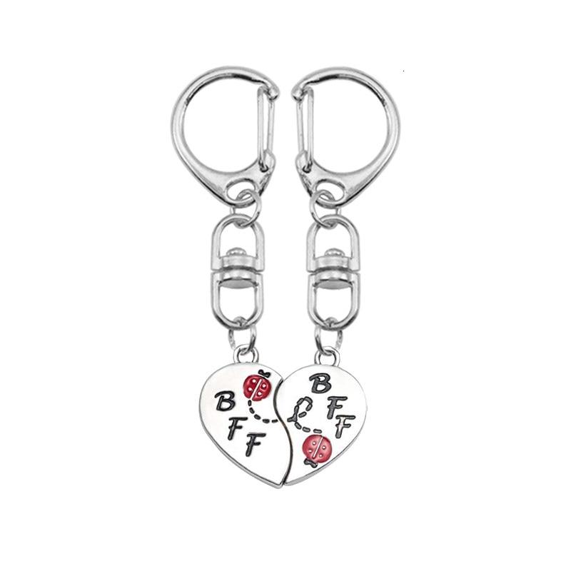 DIY BFF llavero para mujer niña en forma de corazón rompecabezas accesorios colgantes llavero encantos pareja joyería regalo Dropshipping 2019