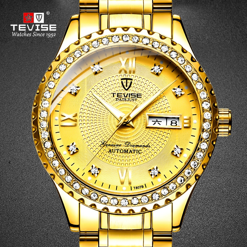 TEVISE Golden Men Wristwatch Complete Calendar Diamond Luxury Male Auto Date Watches Relogios Mascul