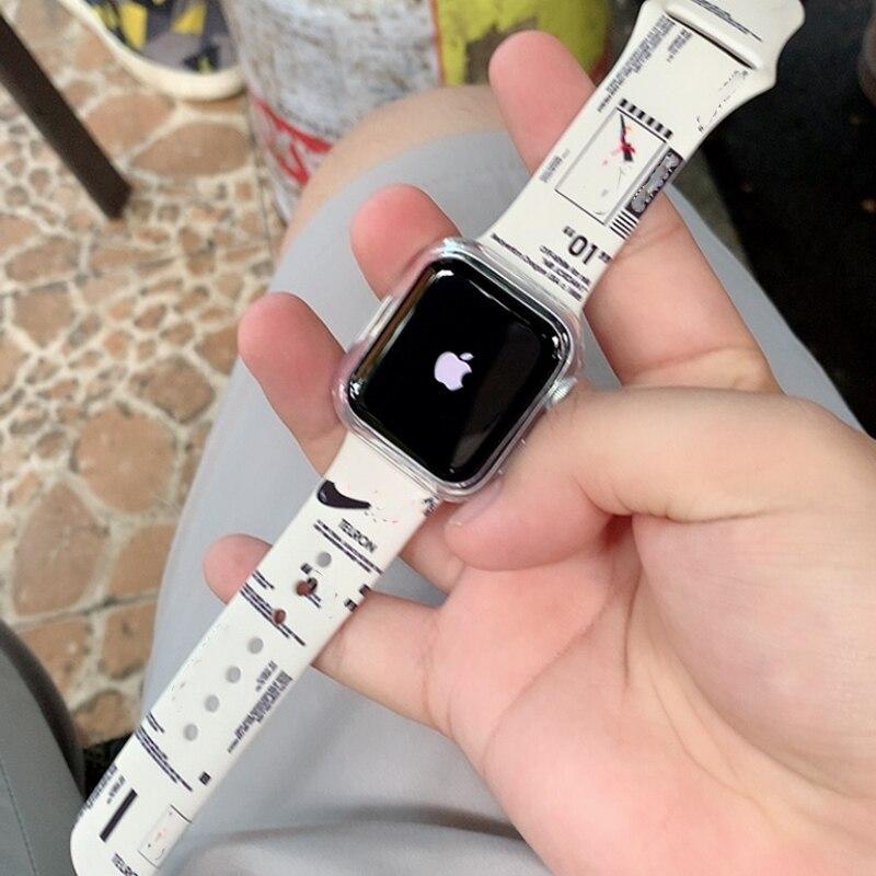 Ремешок для Apple Watch 3 band 38 мм 42 мм Аксессуары для iwatch силиконовый браслет для печати correa для apple watch band 5 4 40 мм 44 мм
