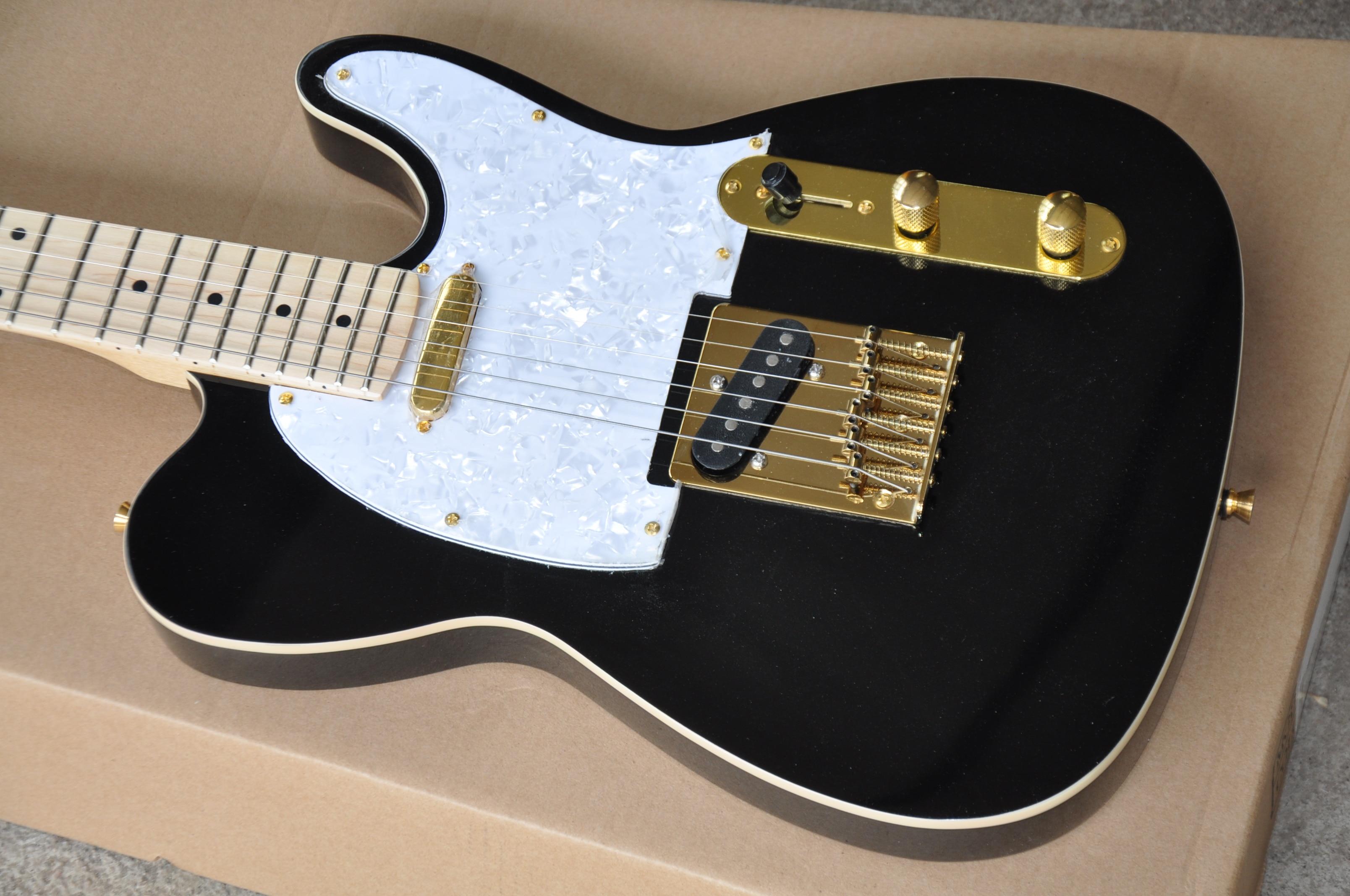 Frete grátis fábrica personalizado novo tl preto guitarra elétrica ferragem de ouro frete grátis 8pai