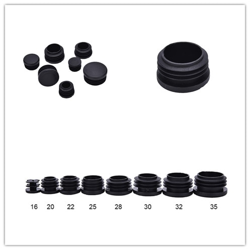 Tapones de tapón de tubo de plástico de 10 Uds. Tapones de inserción tapa redonda diámetro 16mm, 20mm, 22mm, 25mm, 28mm, 30mm, 32mm, 35mm