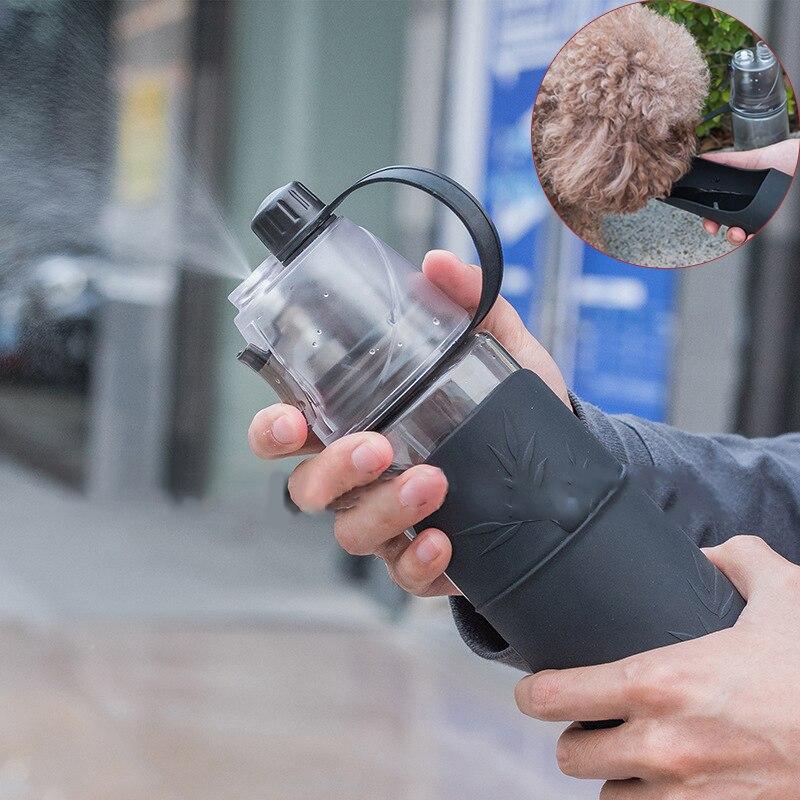 Botella de agua portátil para perros y mascotas de 600ml con rociador de doble uso, tazón de agua multifunción para perros, taza para exteriores para suministros para mascotas perros