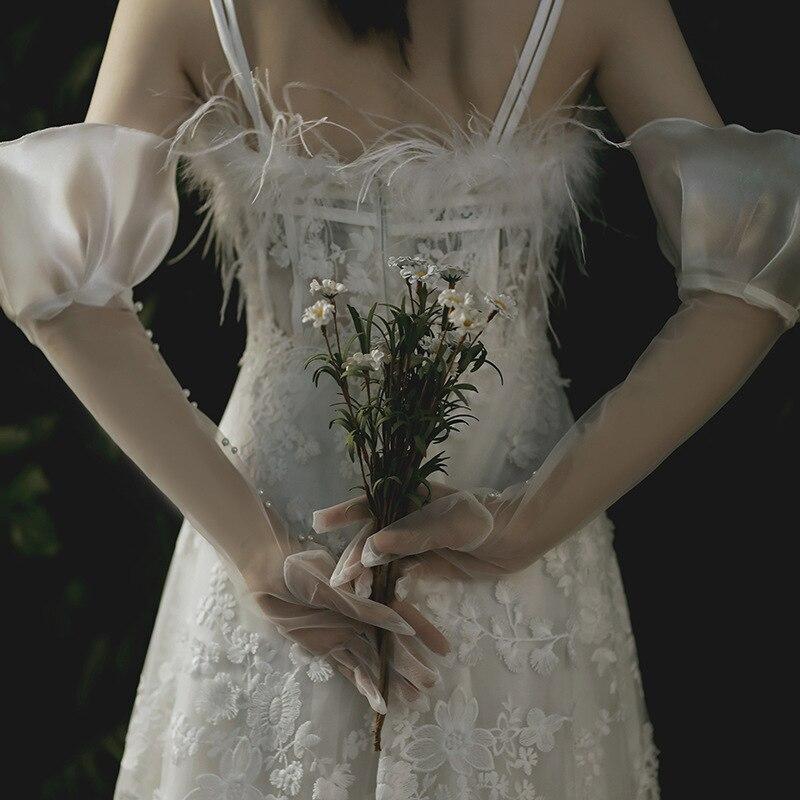 Новинка, дизайнерские тюлевые прозрачные женские перчатки длиной оперы, свадебные аксессуары