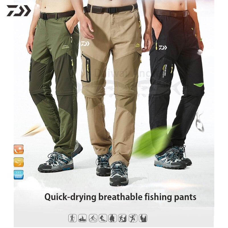 Pantalones de pesca Daiwa para hombre, pantalones de pesca de secado rápido desmontables, pantalones impermeables para exterior, caza, senderismo, acampada, ropa de pesca