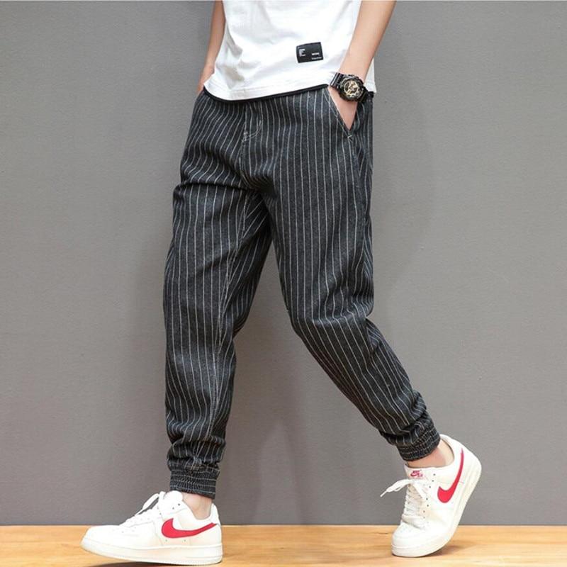 2021 Новая Летняя мужская полосатая джинсовая ткань, модные простые однотонные джинсы прямые штаны с рисунком в виде качественные хлопковые ...