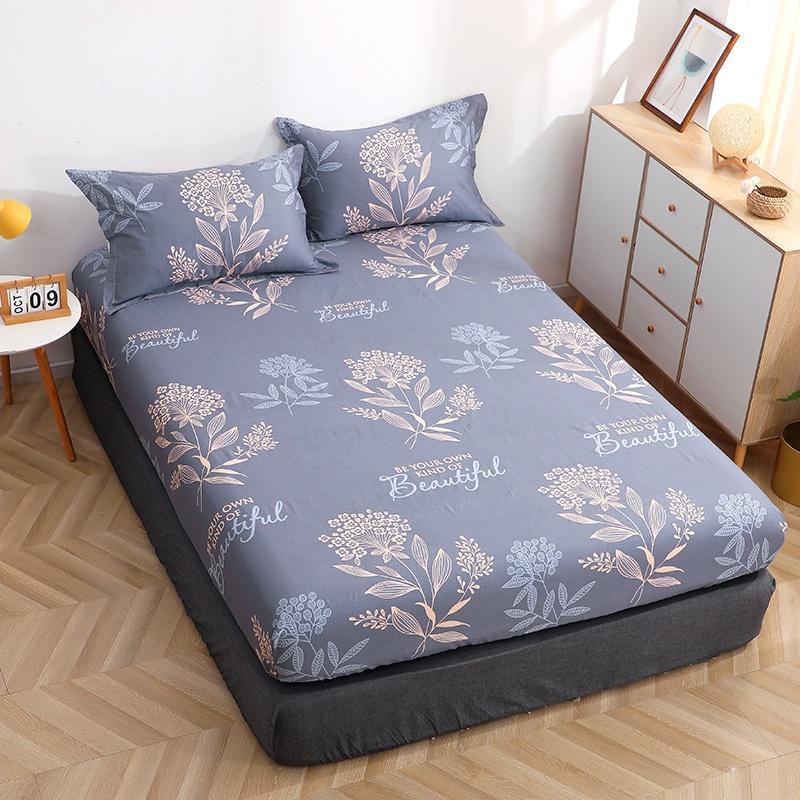 رد الفعل المطبوعة ملاءات السرير المجهزة نمط غطاء واقي للملاءة المفرش الصيف حصيرة ديكور غرفة نوم للفتيات النساء