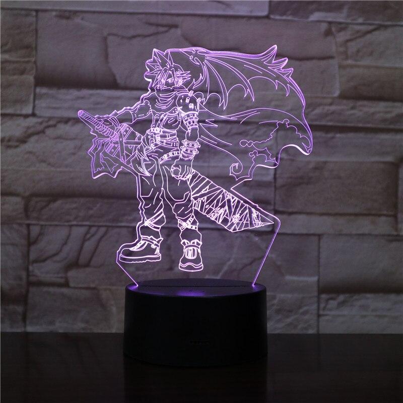 Lámpara 3D Final Fantasy Cloud Strife para regalo de Navidad, funciona con batería colorida con lámpara de luz nocturna Led remota, escritorio Dropship