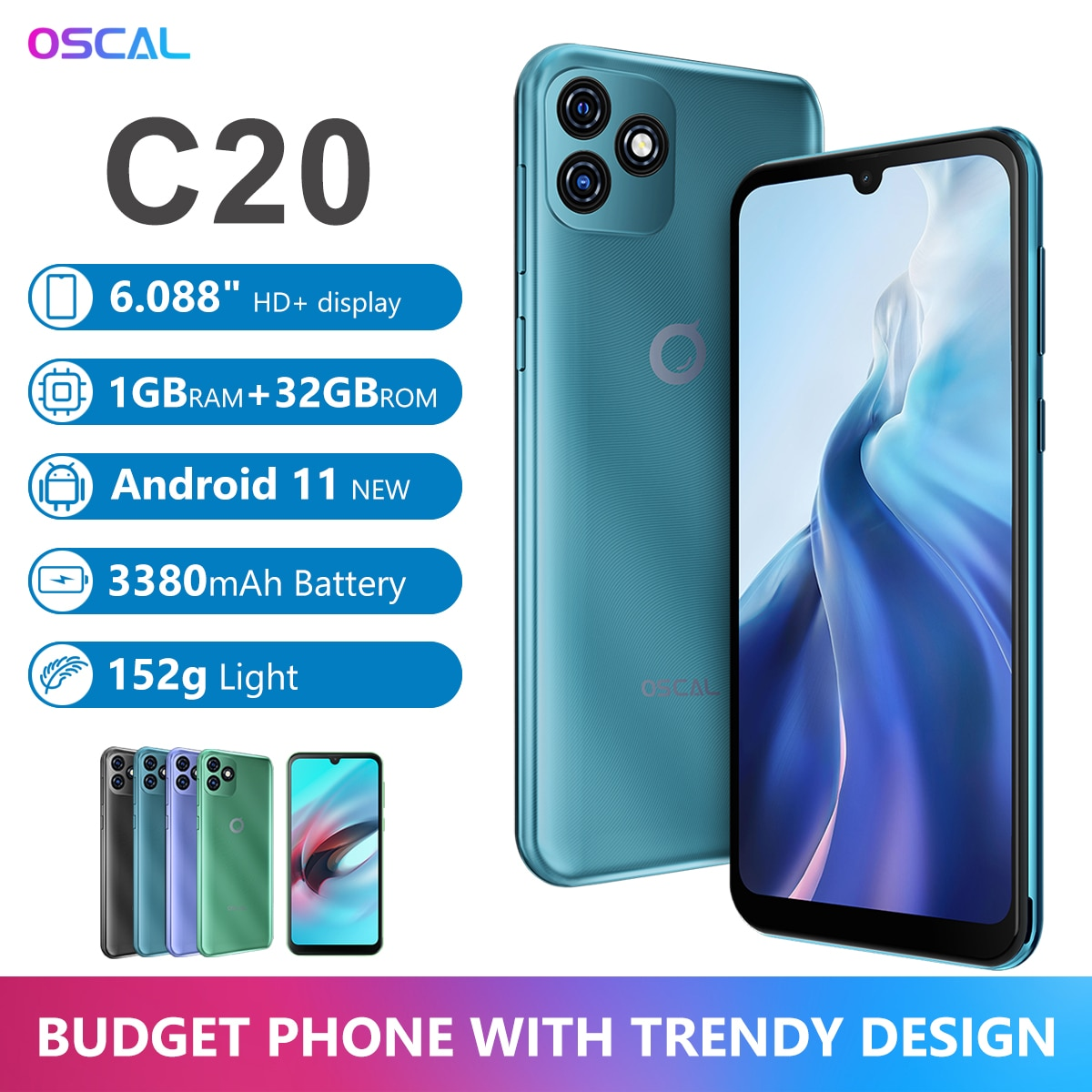 "BLACKVIEW OSCAL C20 Smartphone SC7731E Quad Core 1GB+32GB 6.088"" Screen 3380mAh Cellphone Dual Camera Android 11 3G Mobile Phone"