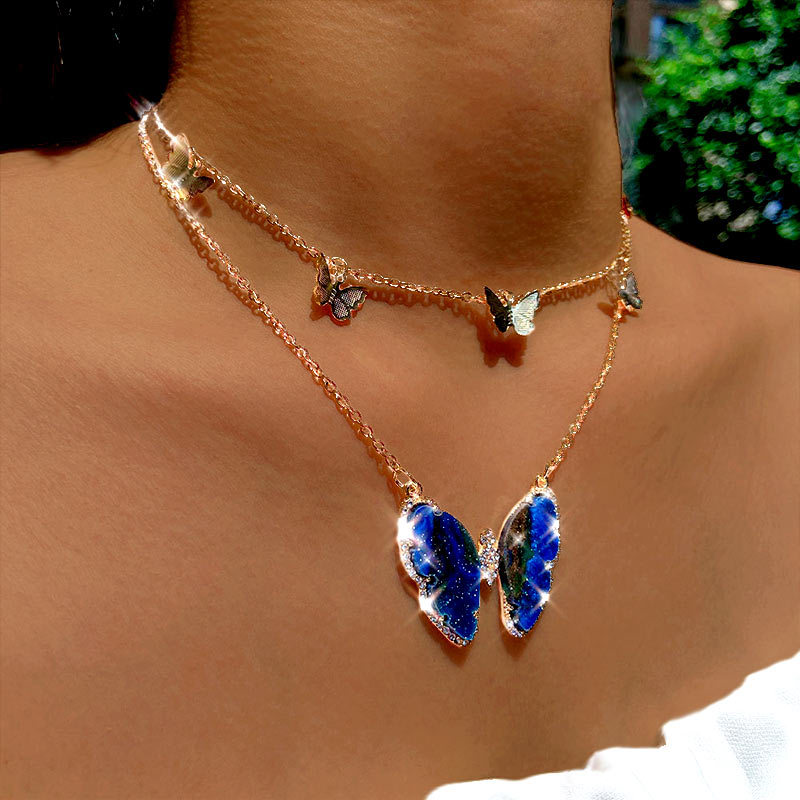 Neue Mode Multi-schicht Große Schmetterling Kristall Anhänger Halskette Für Frauen Gold Silber Farbe Halsband Halskette Hochzeit Schmuck Geschenk