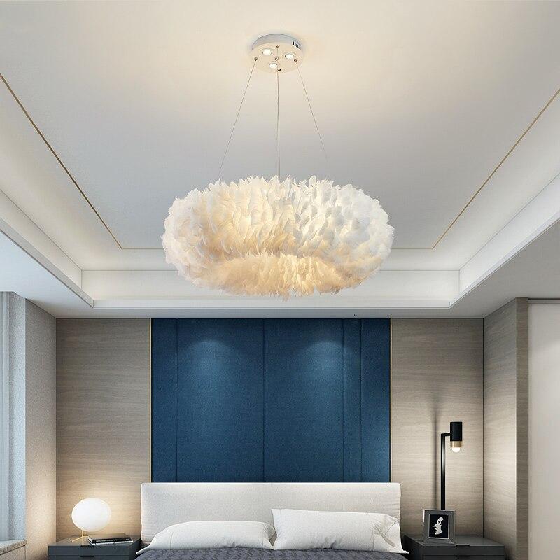 Lámpara colgante de pluma para sala de estar dormitorio chica habitación cocina isla luces colgantes mediados de siglo arte decoración princesa brillo
