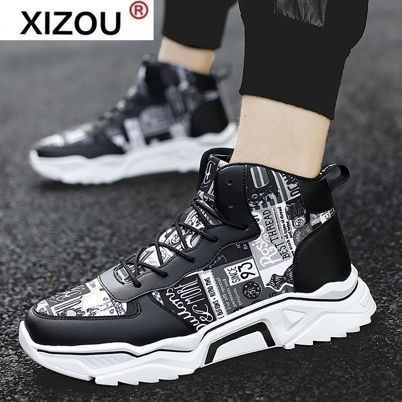 XIZOU Spring Summer Men Shoes High-top Men's Sneakers Casual Shoes White Canvas Shoe Height Increasing Wear-resistant Leather