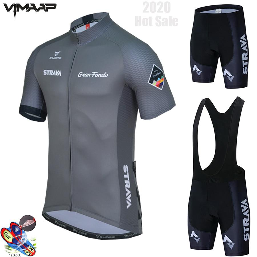 STRAVA-Conjunto de ropa de ciclismo para hombre, camisetas transpirables para equipo de...