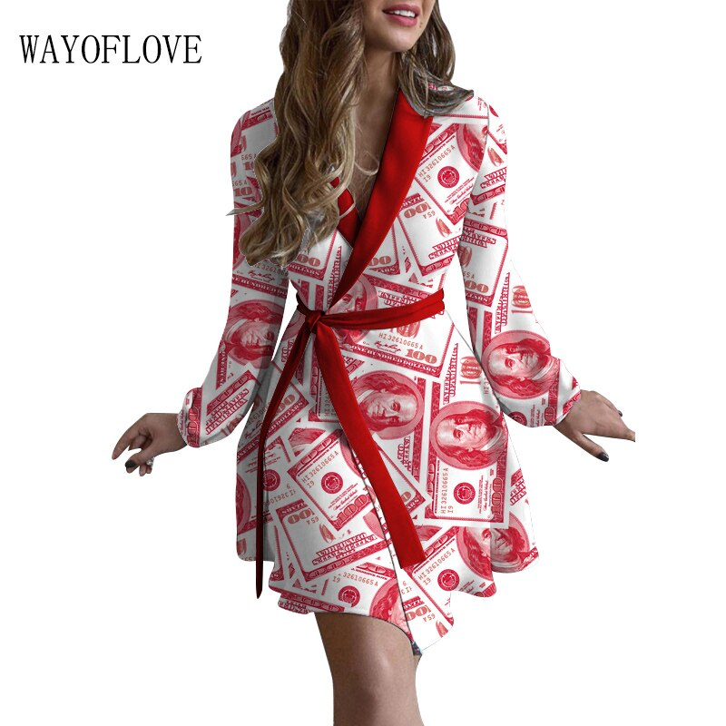 WAYOFLOVE Red Print Autumn Dress Women Sexy 2021 Vintage Elegant Slim Chic Long Sleeve Dresses Woman Tied Belt Dress Women Dress gauzy raglan sleeve crane pattern tied dress